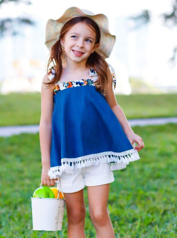 Girls Indigo Denim Swing Top with Printed Band & Fringe Trim - Girls Spring Top