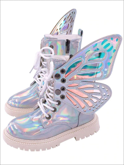 Girls Iridescent Detachable Butterfly Wing Boots - Silver / 8 - Girls Boots