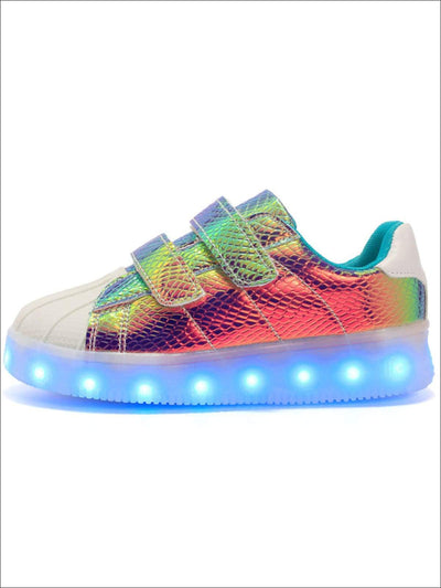 Girls Iridescent Mermaid Inspired Light Up Sneakers - Gold / 1 - Girls Sneakers