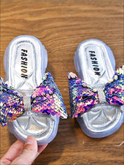 Girls Iridescent Sequined Solid Color Flip Flops - Girls Slides