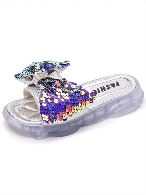 Girls Iridescent Sequined Solid Color Flip Flops - Purple / 1 - Girls Slides