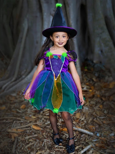 Girls Iridescent Velvet Organza Witch Halloween Costume - 3T/4T / Satin/Velvet/Organza - Girls Halloween Costume