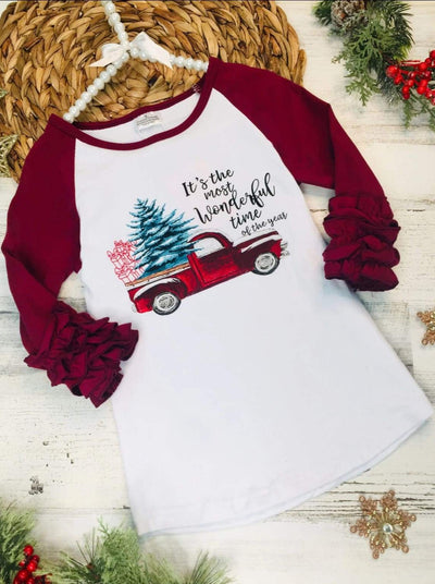 Girls Its the Most Wonderful Time of the Year Graphic Ruffled Top - 2T / Burgundy - Girls Christmas Top
