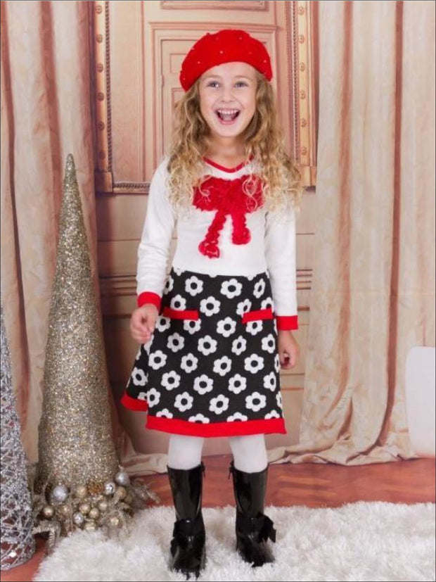 Girls Ivory & Black A-Line Dress with Faux Pockets & bow Applique - 3T / Ivory/Black - Girls Fall Dressy Dress