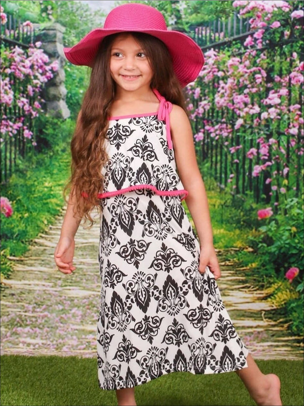 Girls Ivory & Black Double Layer Spaghetti Strap Maxi Dress - Girls Spring Casual Dress