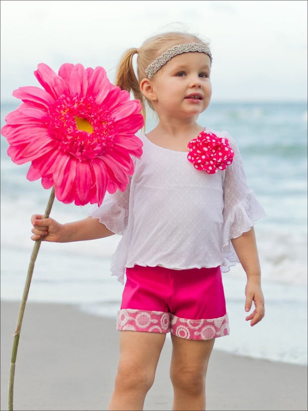 Girls Ivory Boho Flare Sleeve Top & Matching Fuchsia Shorts Set - Girls Spring Casual Set