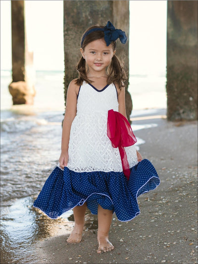 Girls Ivory Crochet Lace Dress with Navy Dotted Ruffle Hem - Girls Spring Casual Dress