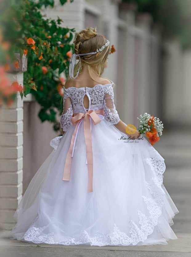 Girls Ivory Lace Rhinestone Dress - Flower girls Dress