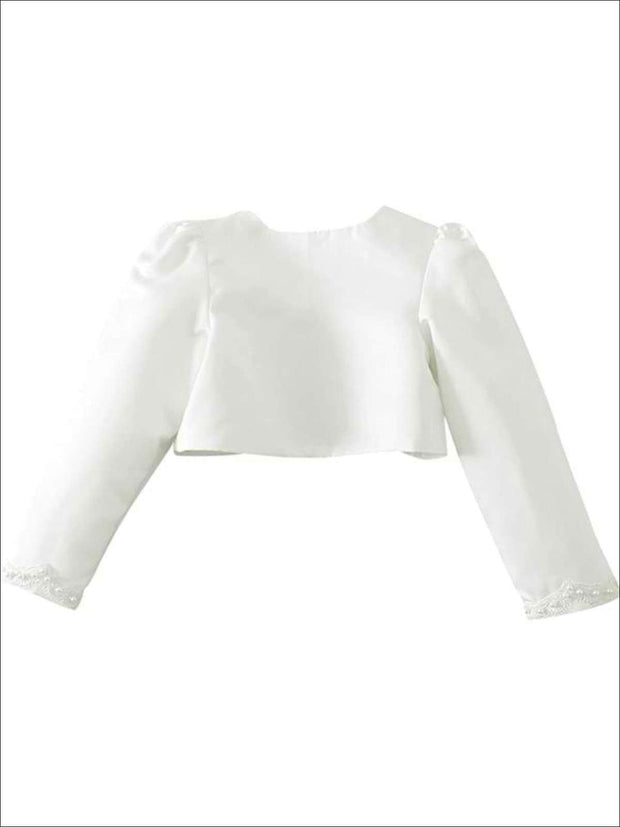 Girls Ivory Pearl Embellished Long Sleeve Bolero - Girls Jacket