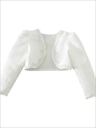 Girls Ivory Pearl Embellished Long Sleeve Bolero - White / 2T - Girls Jacket