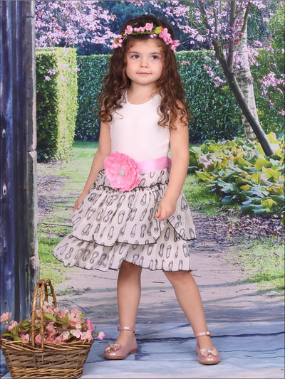 Girls Ivory Tiered Dress with Ballet Shoe Print & Red Sash - Girls Spring Dressy Dress
