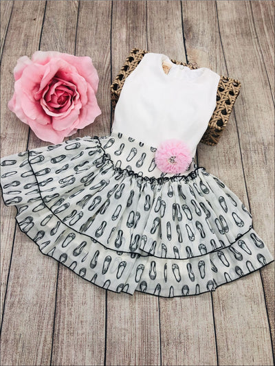Girls Ivory Tiered Dress with Ballet Shoe Print & Red Sash - White / Ivory / 3T - Girls Spring Dressy Dress