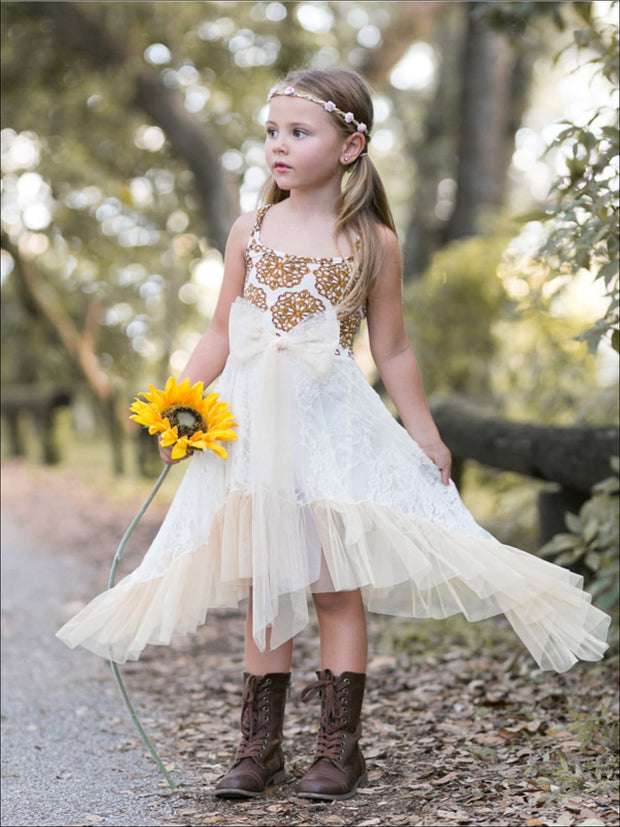 Girls Ivory/Gold Ruffled Side Tail Halter Top Dress w/ Chiffon Bow Sash - Girls Spring Dressy Dress