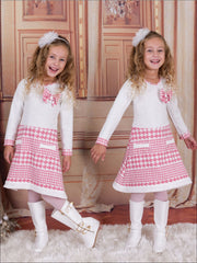 Girls Ivory/Pink A-Line Dress with Faux Pockets - 3T / Ivory/Pink - Girls Fall Dressy Dress