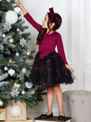 Girls Jacquard Long Sleeve Tutu Dress with Bow - Girls Fall Dressy Dress
