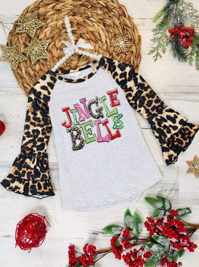Girls Jingle Bells Leopard Ruffled Top - 2T / Brown - Girls Christmas Top