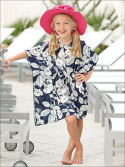 Girls Kaftan Style Drawstring Swimsuit Cover Up - Girls Swimsuit Cover Up