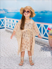 Girls Kaftan Style Drawstring Swimsuit Cover Up - Beige / 10Y/12Y - Girls Swimsuit Cover Up
