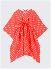 Girls Kaftan Style Drawstring Swimsuit Cover Up - Orange / 2T/3T - Girls Swimsuit Cover Up