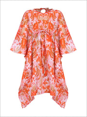 Girls Kaftan Style Drawstring Swimsuit Cover Up - Pink / 2T/3T - Girls Swimsuit Cover Up