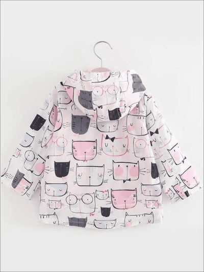 Girls Kitty Print Long Sleeve Windbreaker Hooded Jacket - White / 5 - Girls Jacket