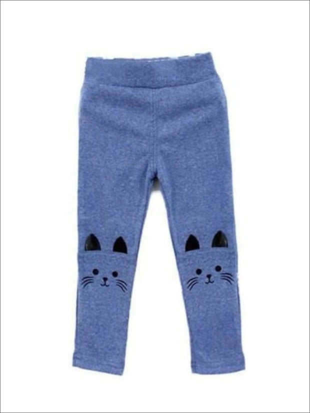Girls Kitty Stretchy Leggings - Blue / 3T - Girls Fall Leggings