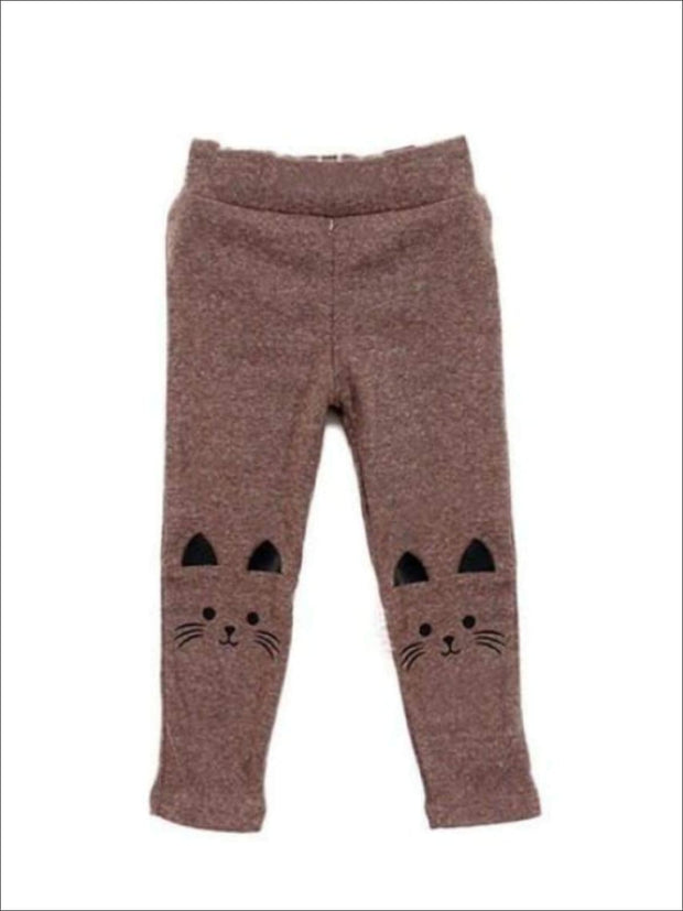 Girls Kitty Stretchy Leggings - Brown / 3T - Girls Fall Leggings