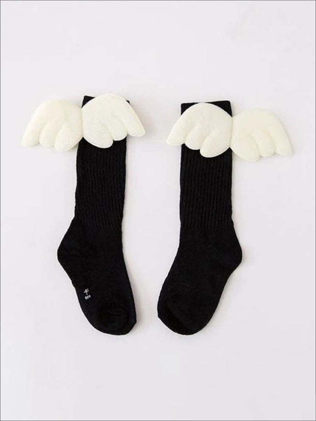Girls Knee High Angel Wing Socks - Black / 1 to 3 Years - Girls Accessories
