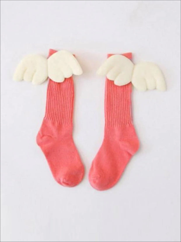 Girls Knee High Angel Wing Socks - Coral / 1 to 3 Years - Girls Accessories