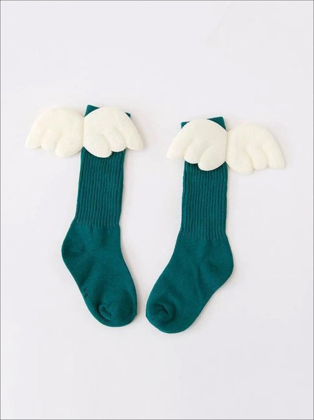 Girls Knee High Angel Wing Socks - Green / 1 to 3 Years - Girls Accessories