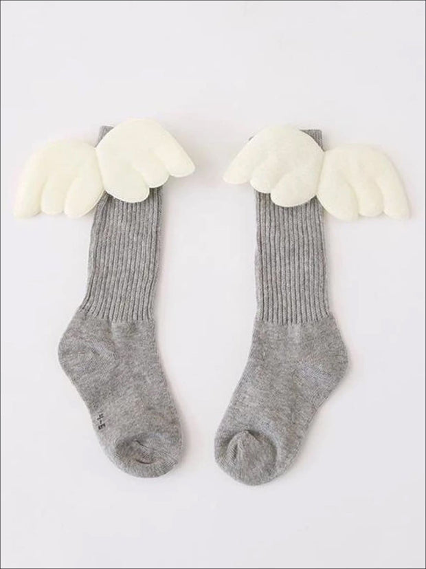 Girls Knee High Angel Wing Socks - Light Grey / 1 to 3 Years - Girls Accessories
