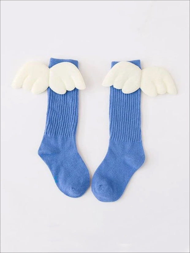 Girls Knee High Angel Wing Socks - Powder Blue / 1 to 3 Years - Girls Accessories
