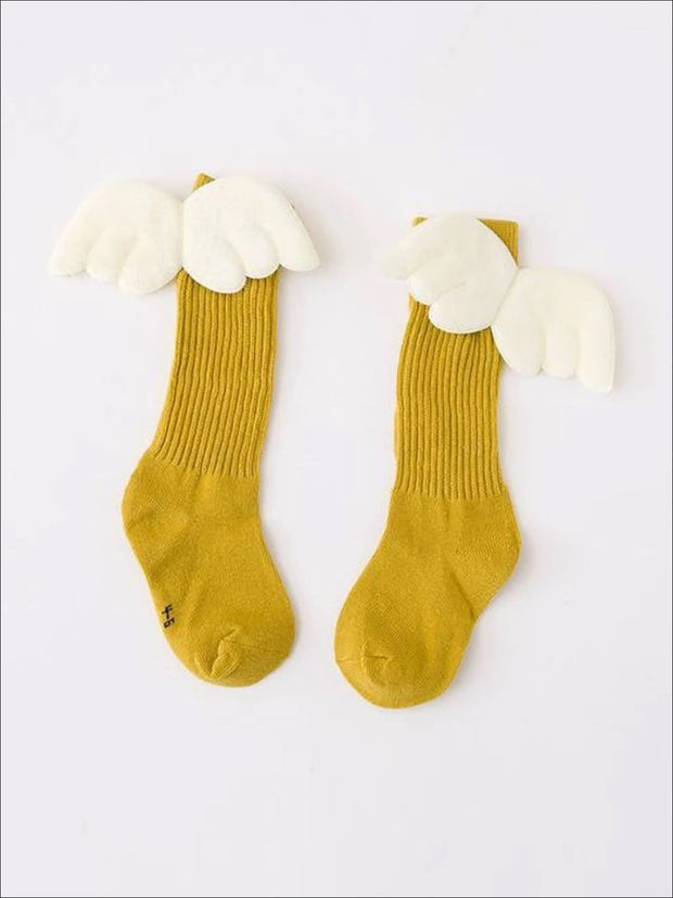 Girls Knee High Angel Wing Socks - Yellow / 1 to 3 Years - Girls Accessories
