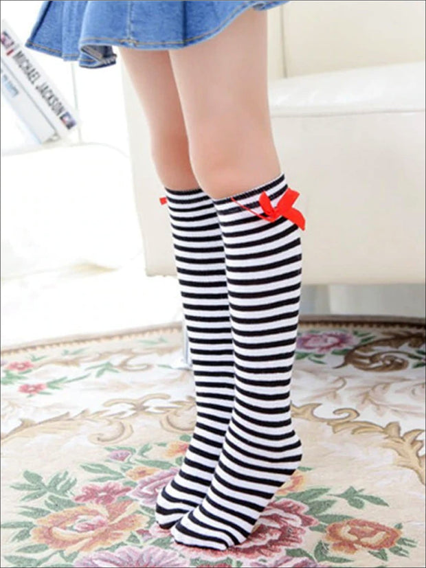 Girls Knee High Butterfly Socks - Black & White / 1 - Girls Accessories
