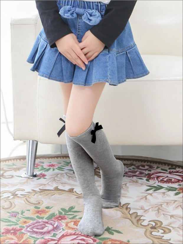 Girls Knee High Butterfly Socks - Grey / 1 - Girls Accessories