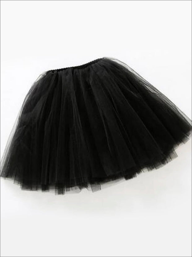 Girls Knee Length Mesh Tutu Skirt ( Multiple Color Options) - Black / 2T - Girls Spring Bottom