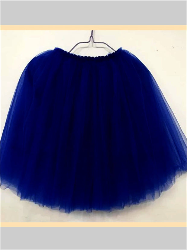 Girls Knee Length Mesh Tutu Skirt ( Multiple Color Options) - blue / 2T - Girls Spring Bottom
