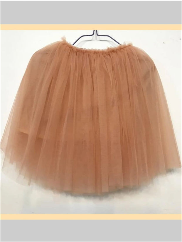 Girls Knee Length Mesh Tutu Skirt ( Multiple Color Options) - champagne / 2T - Girls Spring Bottom