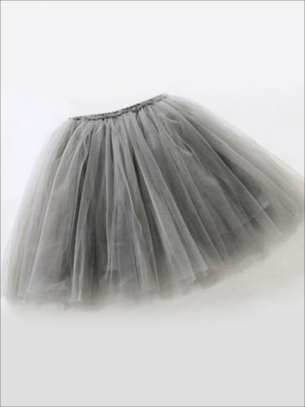 Girls Knee Length Mesh Tutu Skirt ( Multiple Color Options) - Gray / 2T - Girls Spring Bottom