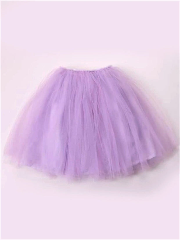 Girls Knee Length Mesh Tutu Skirt ( Multiple Color Options) - lavender / 2T - Girls Spring Bottom