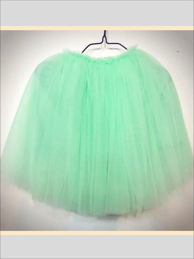 Girls Knee Length Mesh Tutu Skirt ( Multiple Color Options) - light green / 2T - Girls Spring Bottom