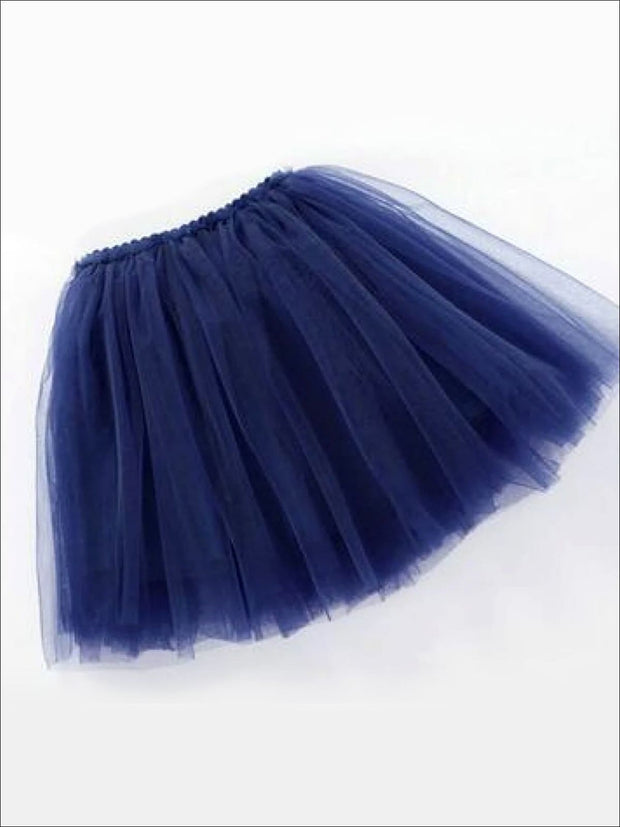 Girls Knee Length Mesh Tutu Skirt ( Multiple Color Options) - navy / 2T - Girls Spring Bottom