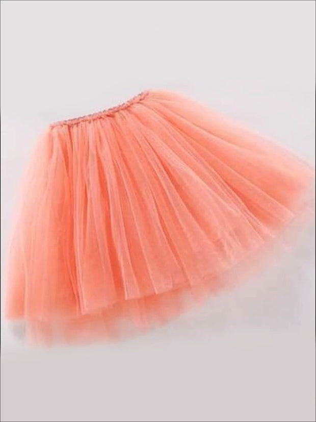 Girls Knee Length Mesh Tutu Skirt ( Multiple Color Options) - orange pink / 2T - Girls Spring Bottom
