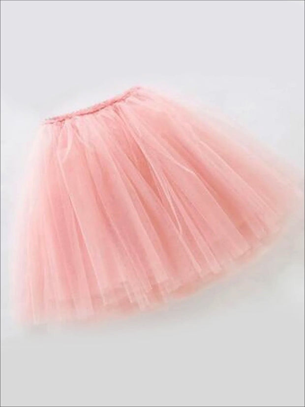 Girls Knee Length Mesh Tutu Skirt ( Multiple Color Options) - Pink / 2T - Girls Spring Bottom
