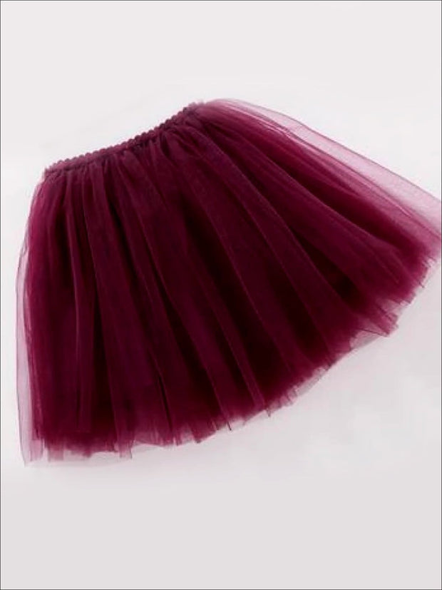 Girls Knee Length Mesh Tutu Skirt ( Multiple Color Options) - Purple / 2T - Girls Spring Bottom