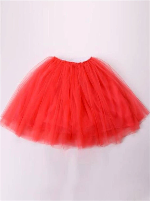Girls Knee Length Mesh Tutu Skirt ( Multiple Color Options) - watermelon red / 2T - Girls Spring Bottom