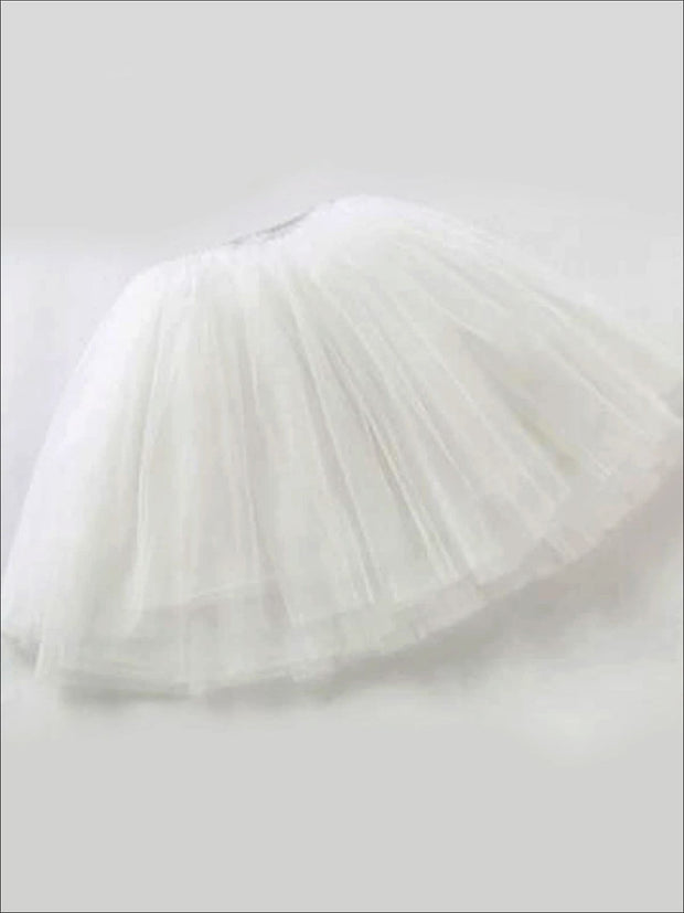 Girls Knee Length Mesh Tutu Skirt ( Multiple Color Options) - White / 2T - Girls Spring Bottom
