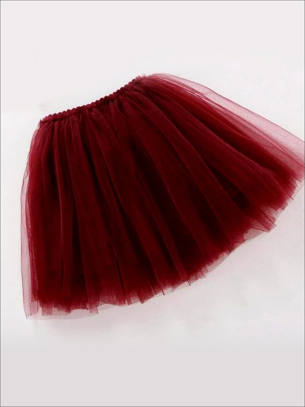 Girls Knee Length Mesh Tutu Skirt ( Multiple Color Options) - wine red / 2T - Girls Spring Bottom
