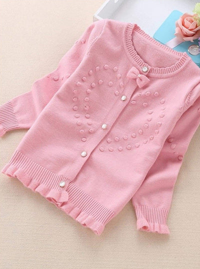 Girls Knit Ruffle Trim Bow Button Up Cardigan - Pink / 3T - Girls Sweater