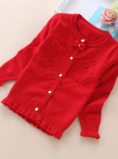 Girls Knit Ruffle Trim Bow Button Up Cardigan - Red / 3T - Girls Sweater